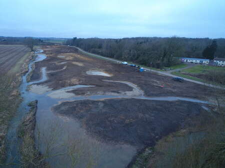 Aerial of ground works nearly finished looking upstream